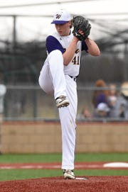 Wylie pitcher Tyler Spears (41) kicks his leg before delivering against Aledo at Bulldog Field on Tuesday, March 12, 2019. Spears gave up one hit in 2.1 scoreless innings of relief.