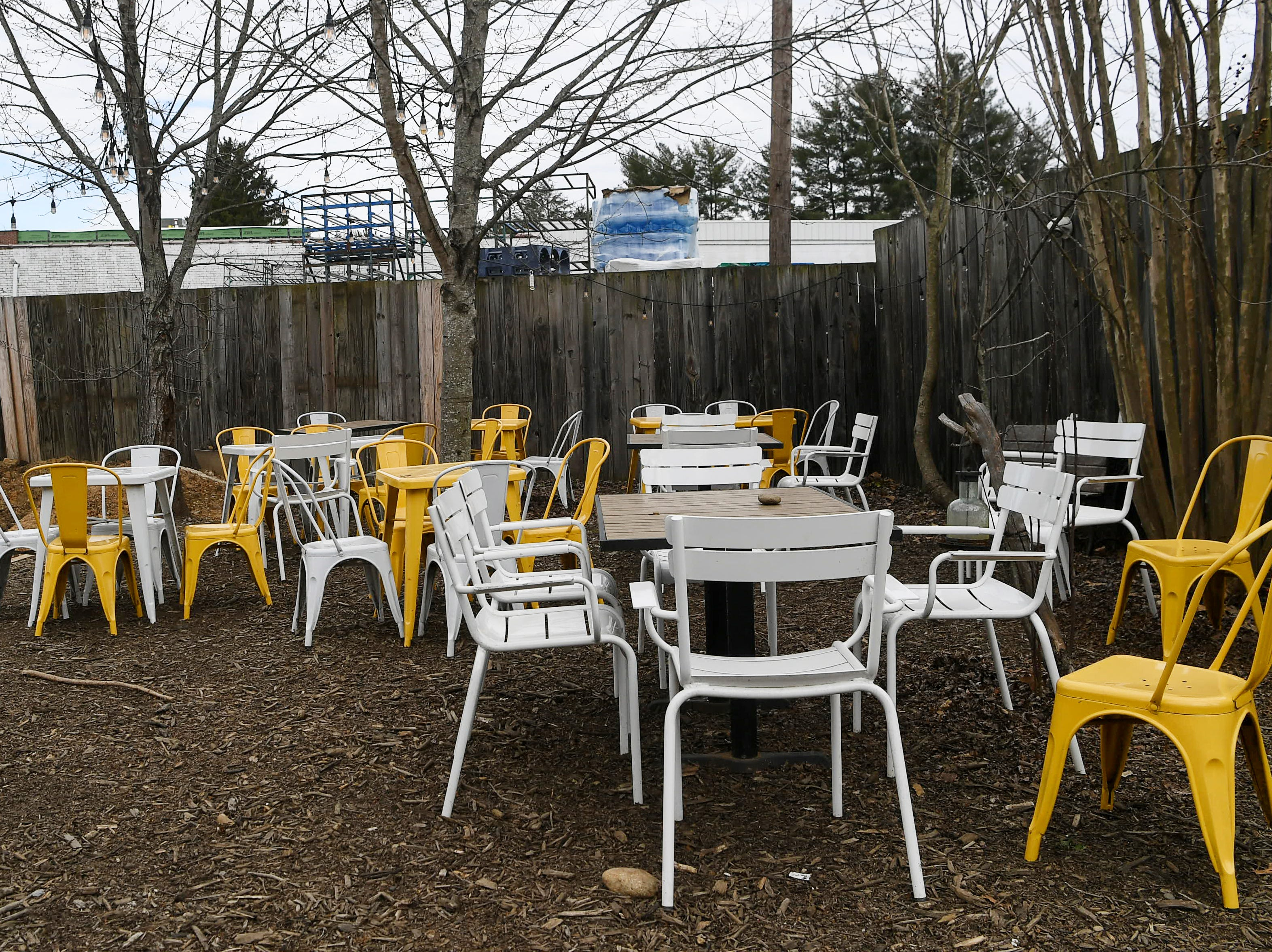 Outdoor seating at OWL Bakery in West Asheville March 7, 2019.