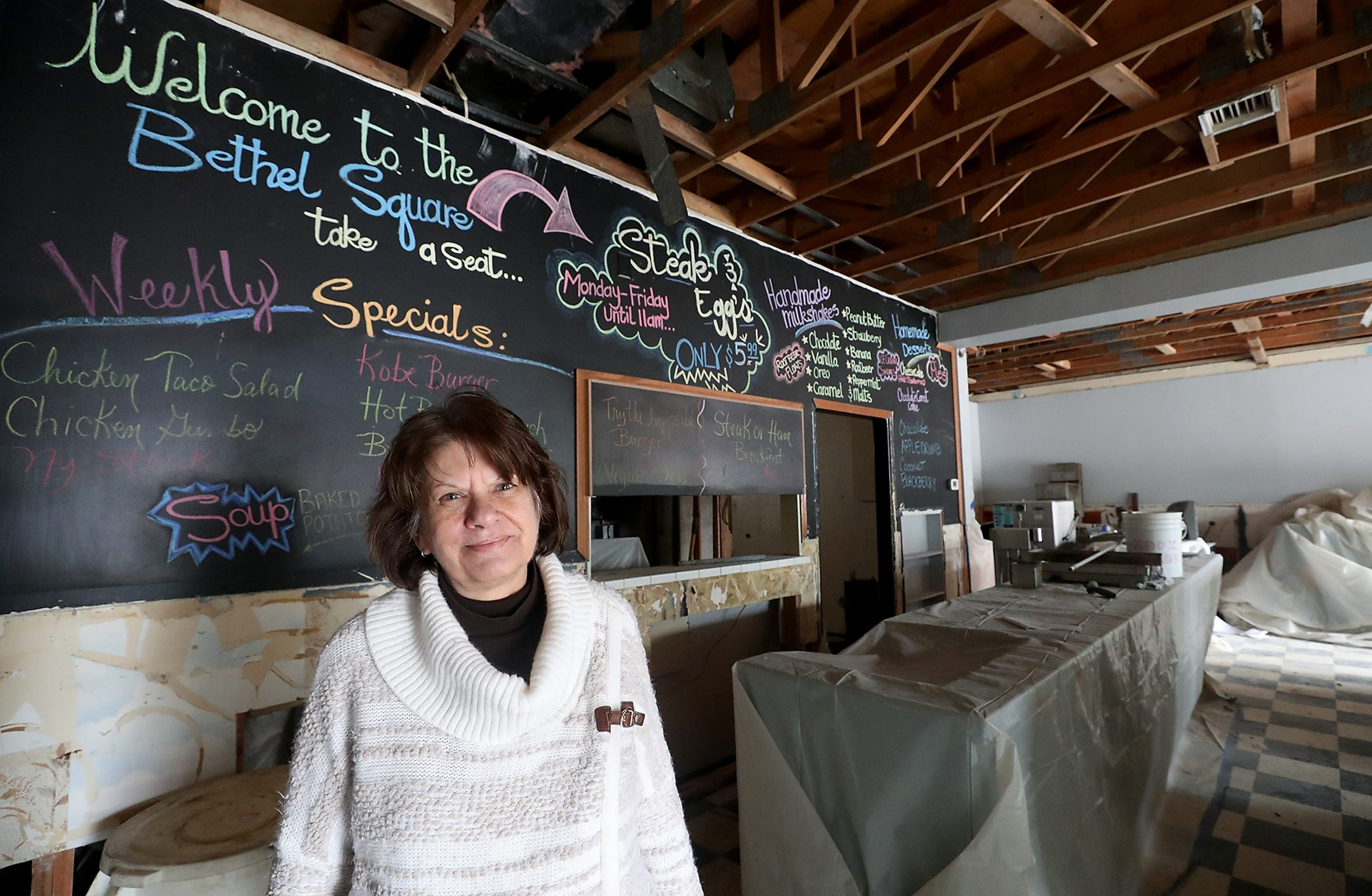 Shari Patrick inside her Bethel Square Restaurant & Lounge, which is undergoing repairs after the December 2018 tornado destroyed the business. She is hoping to reopen the business in April, and in the meantime is trying to occupy herself by testing recipes in her home kitchen and refreshing the menu.