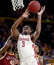 Washington State forward Robert Franks  was named to the AP All-Pac-12 team, Tuesday, March 12, 2019. (AP Photo/Matt York, File)