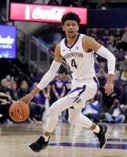 In this March 6, 2019, file photo, Washington guard Matisse Thybulle (4) drives against Oregon State during the first half of an NCAA college basketball game, in Seattle. Thybulle was named Player of the Year in the Pac-12, Tuesday, March 12, 2019.