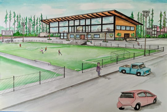An artist rendering of a proposed event and recreation center in Poulsbo. The city is asking the Public Facilities District for $20 million for the project.