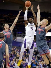 Washington's Jaylen Nowell was named to the AP All-Pac-12 team, Tuesday, March 12, 2019. (AP Photo/Elaine Thompson, FIle)