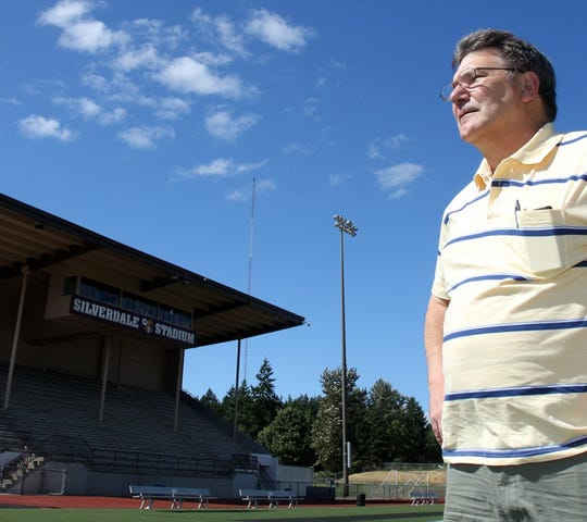 Jim Ferate stands in Silverdale Stadium, just one of the facilities he's helped Central Kitsap School District manage for years.