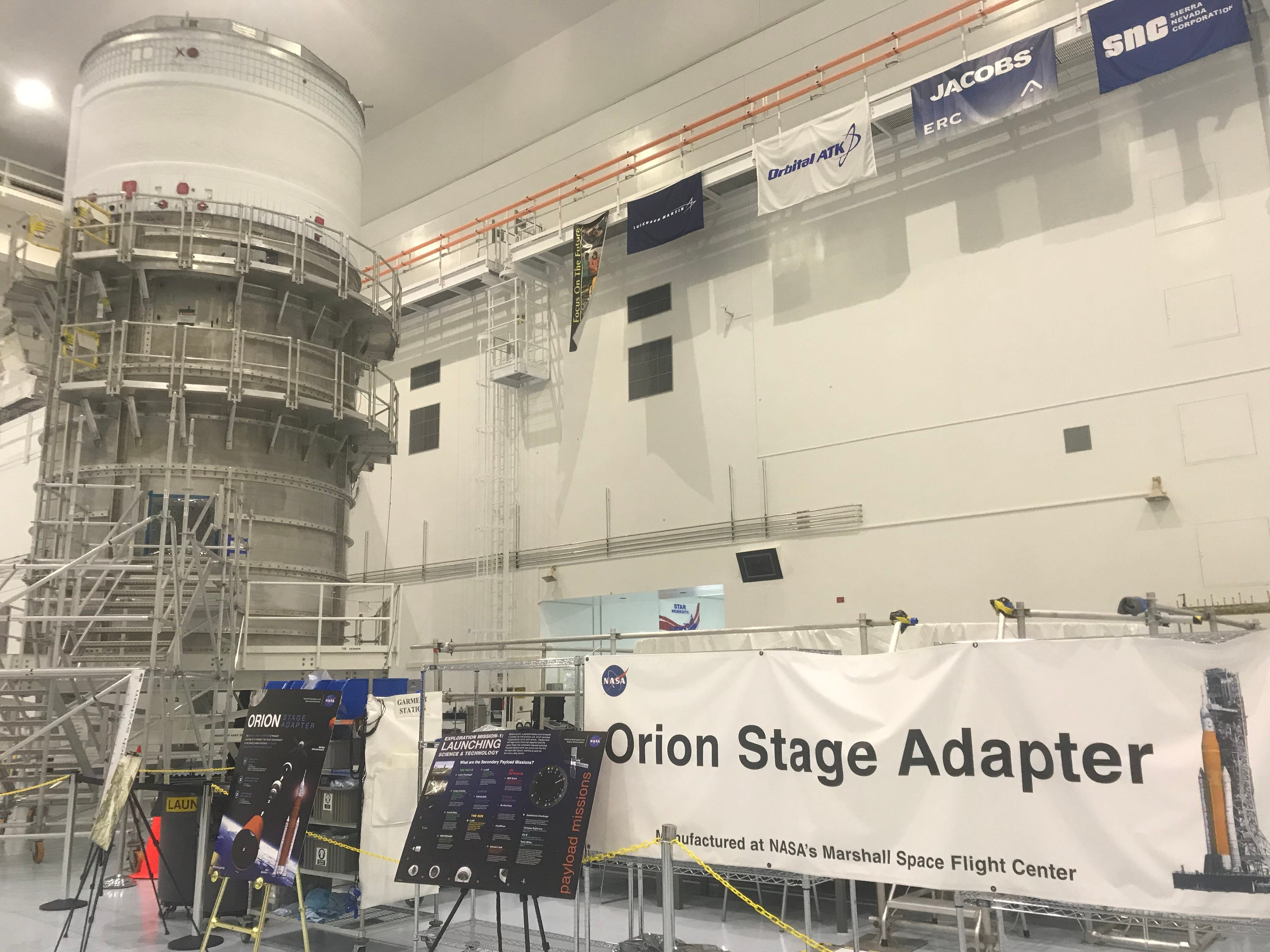 NASA's Orion Stage Adapter and Interim Cryogenic Propulsion Stage at Kennedy Space Center's Space Station Processing Facility.