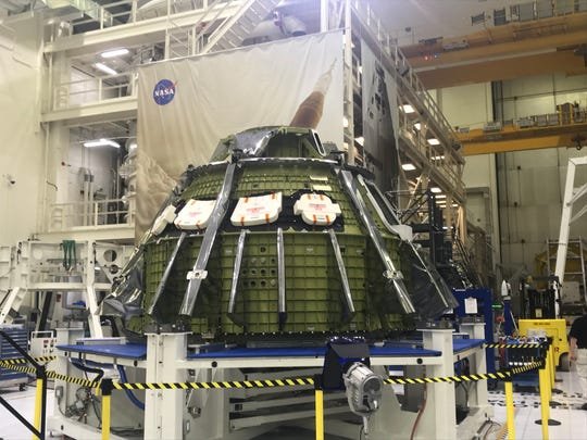 NASA's Orion spacecraft at Kennedy Space Center. The spacecraft will take humans back to the moon for NASA's Exploration Mission 2.