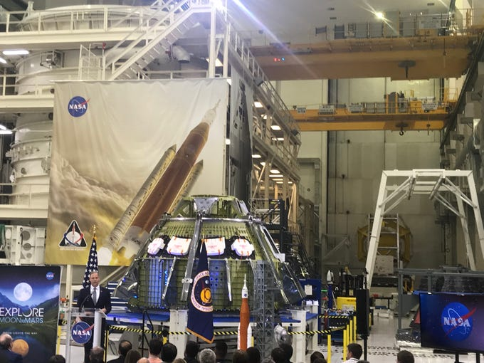 NASA administrator Jim Bridenstine discusses Moon to Mars plans Kennedy Space Center.