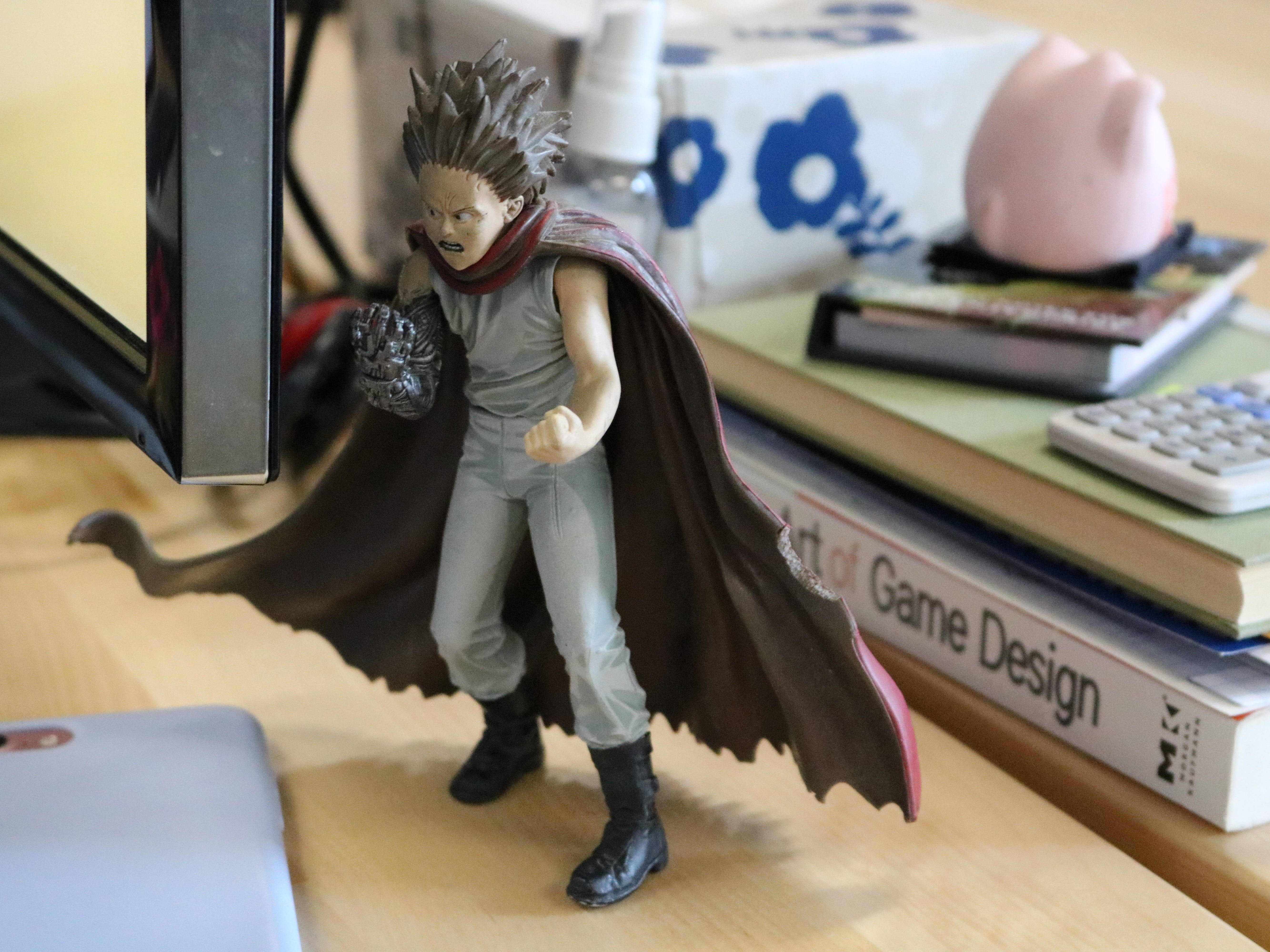 This Tetsuo figurine stands guard at Shannon Mitchell's desk at Chase Mills in Burlington on March 8, 2019.