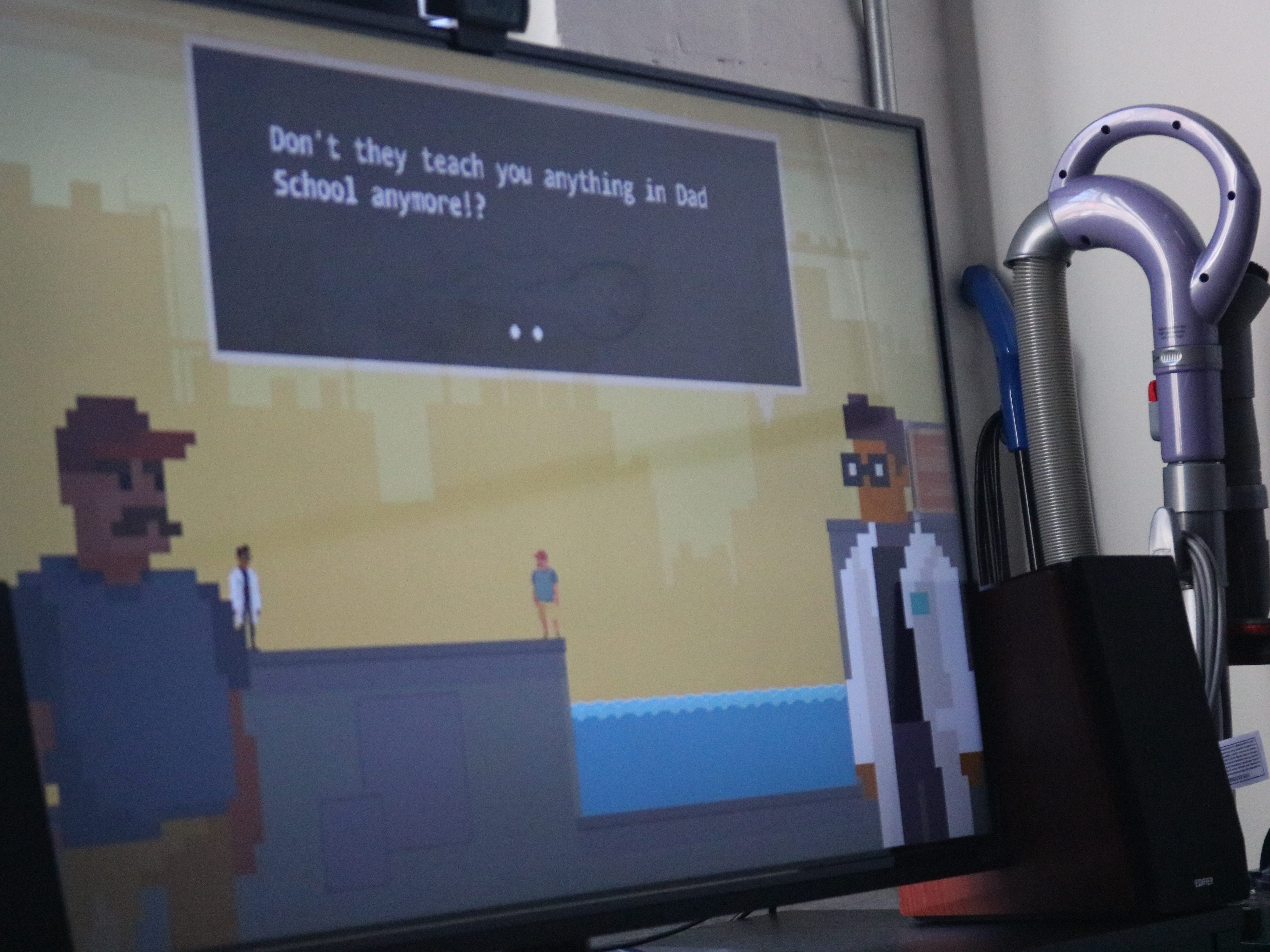 "A shot of Dad Quest, a game with a comedic sci-fi narrative, made by Sundae Month, in which a dad learns to become his best self by raising a child to become the best, the best ""weapon"" that is."