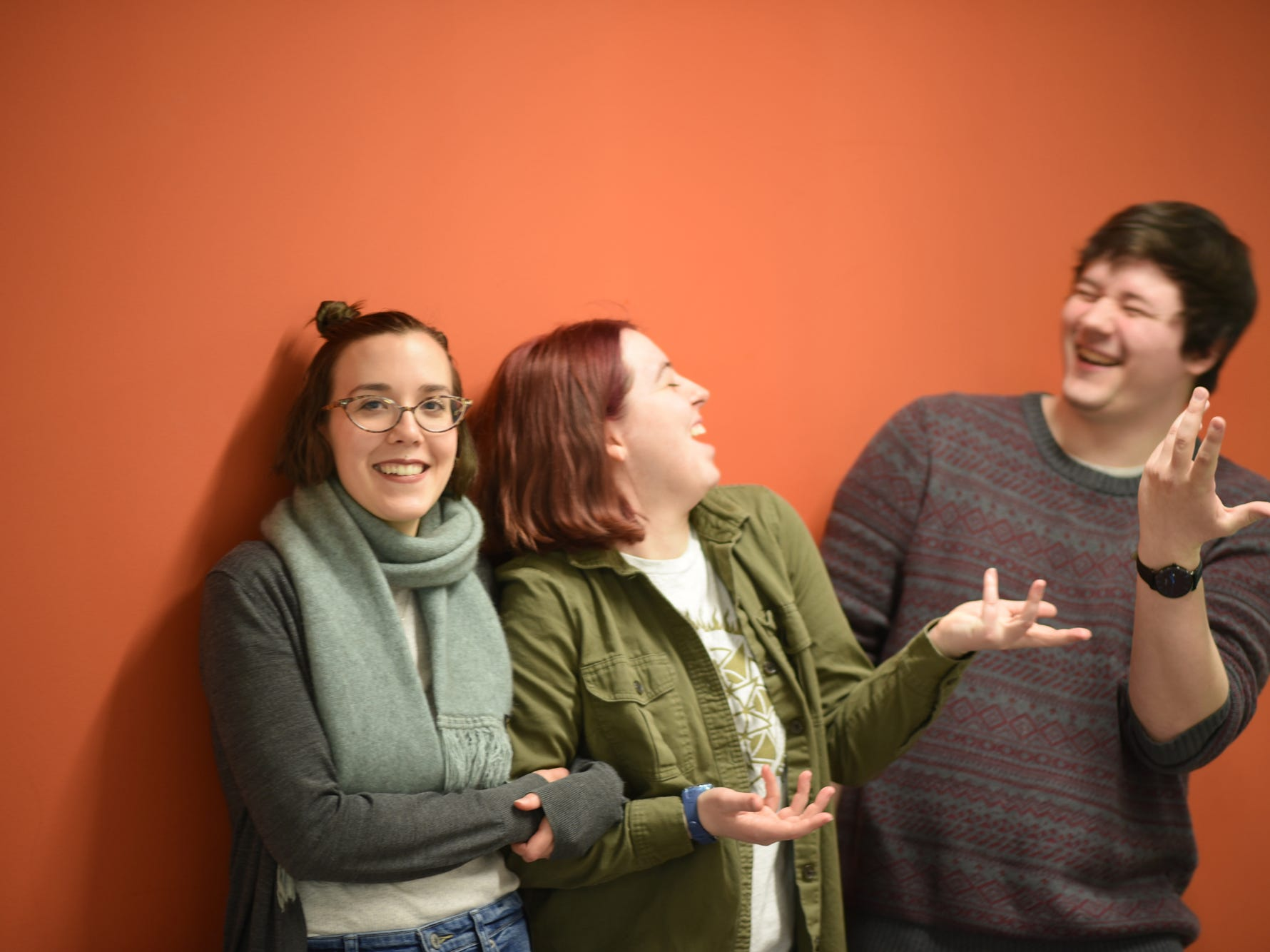 From left to right, Champlain College seniors Amila Nuhodzic, Jennifer Carlin and Brennan Howell, ham it up in the corridor of the Center for Communication & Creative Media on Maple Street in Burlington, March 5, 2019.