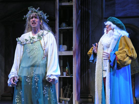 "Sam Lloyd, left, appears as Ophelia in a Weston Playhouse production of ""Shakespeare Abridged"". Beside him is Tom Aulina as Polonius."