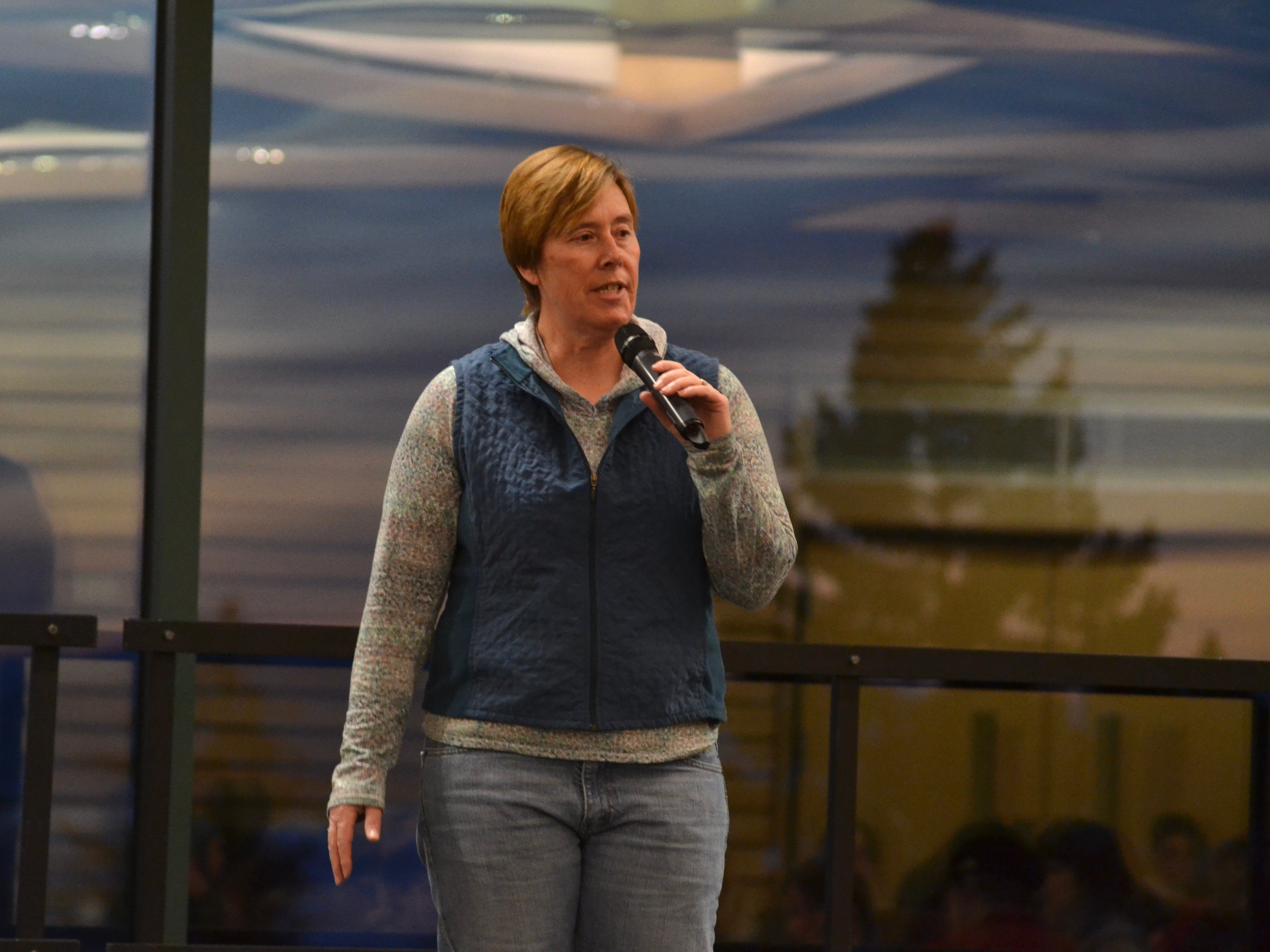 Amanda Crispel, assistant dean for Game Development at Champlain College, spoke in March 2019 at the college's Women in Games networking  alumni event.