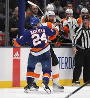 Jake Voracek had Islanders like Scott Mayfield attacking him after a collision left Johnny Boychuk injured on Saturday and a suspension was handed down.