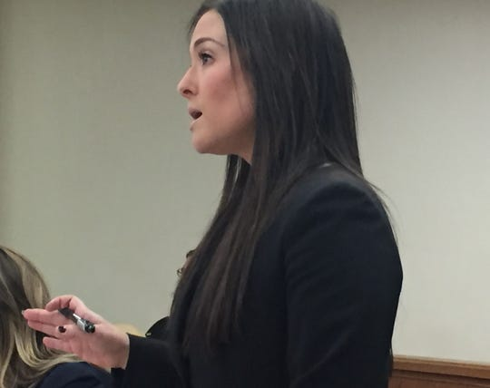 Assistant Camden County Prosecutor Lauren Pratter speaks at a hearing Friday, March 8, in Superior Court, Camden.
