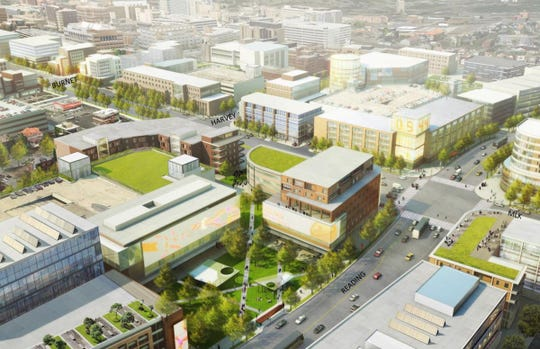 An Artist's rendering of the planned  Uptown Innovation Corridor, a mixed-use development district in Avondale.