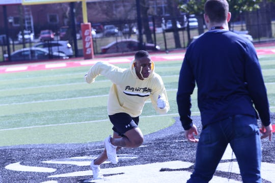 Former Austin Peay standout Malik Boynton runs through drills during Austin Peay's Pro Day on Monday at Fortera Stadium.