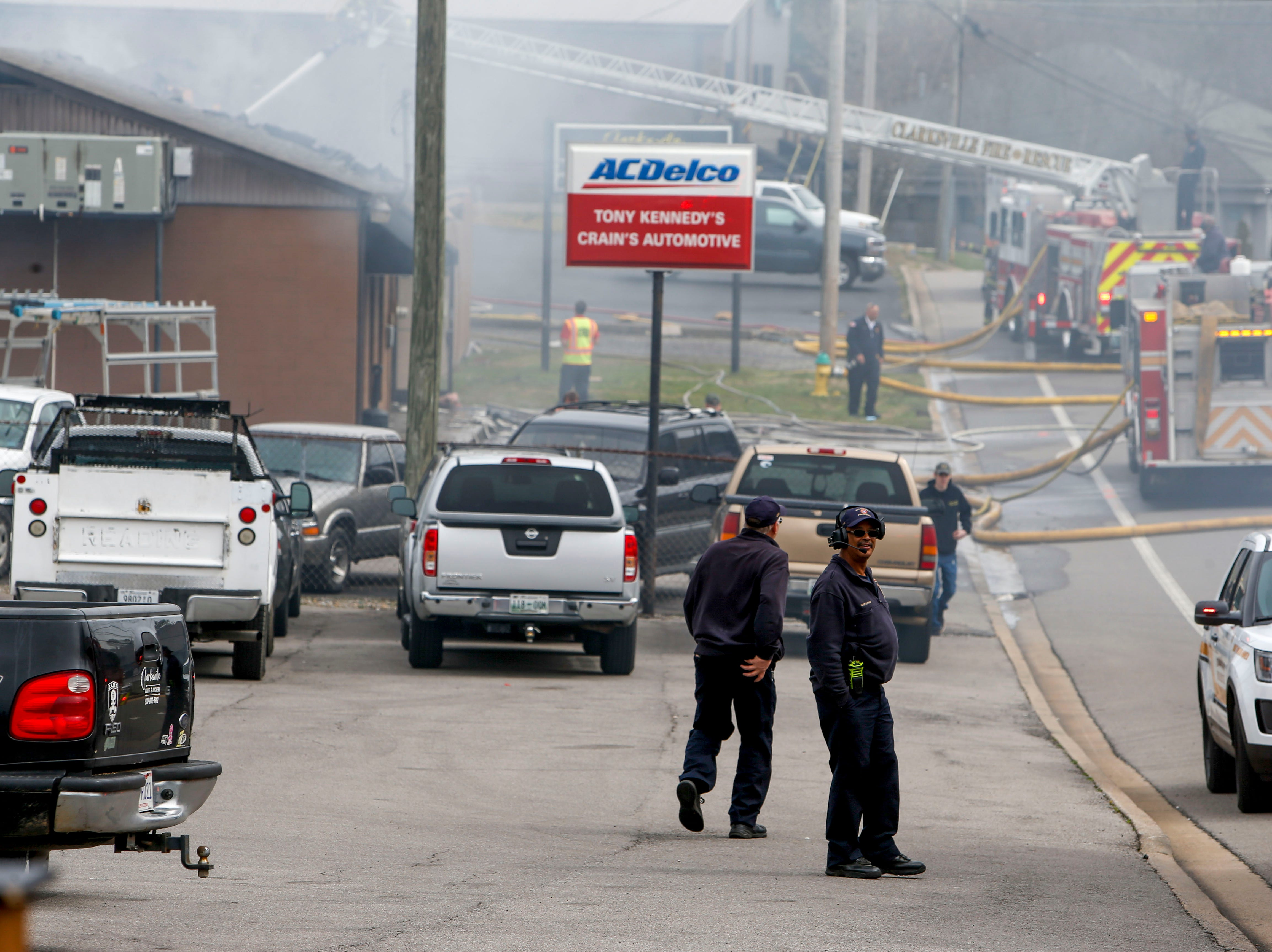 Clarksville first responders work to put out a fire in the shooting range at Clarksville Guns & Archery in Clarksville, Tenn., on Tuesday, March 12, 2019.