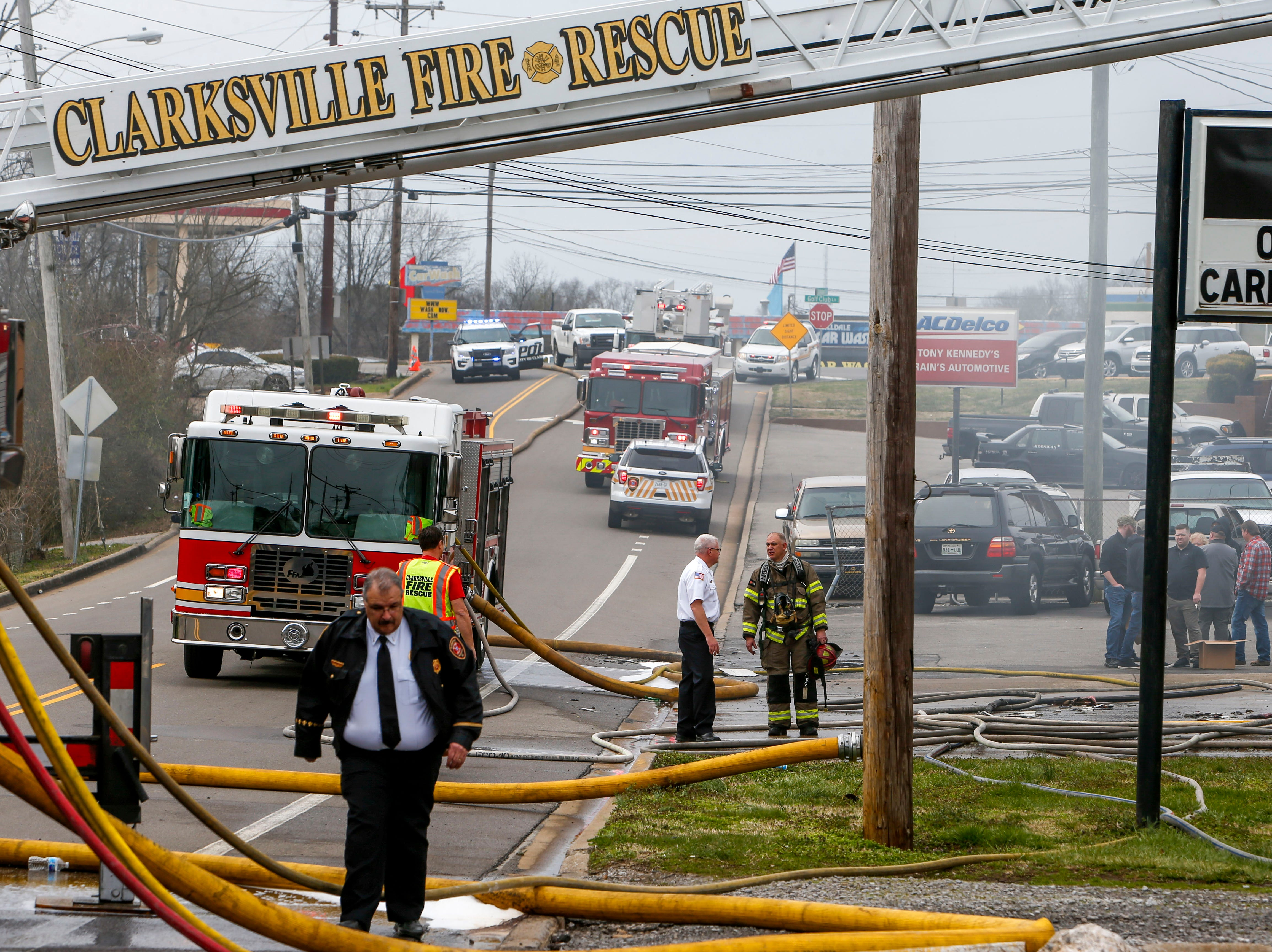 Clarksville Fire Rescue responders work to put out a fire that occurred in the shooting range at Clarksville Guns & Archery in Clarksville, Tenn., on Tuesday, March 12, 2019.