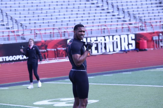 Austin Peay wide receiver D.J. Montgomery waits for instructions on what route to run.