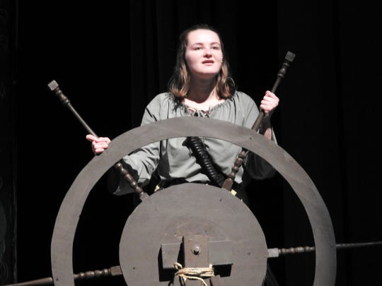 "Kenzie Potter stars as Grace O'Malley in ""The Pirate Queen"" musical this weekend at Coshocton High School. O'Malley was a real life 16th century sailor who led her Irish clan and defied Queen Elizabeth."