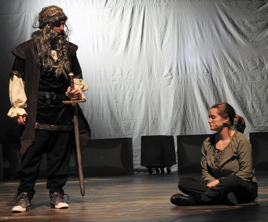 """Spencer Wolfe plays Dubhdara, father of the Grace O'Malley, played by Kenzie Potter, in the Coshocton High School production of the Broadway musical """"The Pirate Queen"""" playing Thursday to Saturday."""