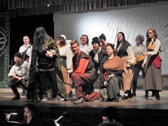"About 20 students perform on stage and another 10 work behind the scenes for ""The Pirate Queen"" being performed this weekend at Coshocton High School."