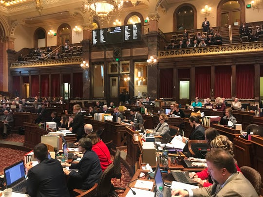 "The Iowa Senate debates an ""ag gag"" bill on Tuesday, March 12, 2019."