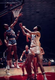 Drake Bulldogs forward Willie Wise (42) in action against UCLA Bruins center Lew Alcindor (33) during the 1969 NCAA Tournament Final Four at Freedom Hall in Louisville, Kentucky. The Bruins defeated the Bulldogs 85-82.