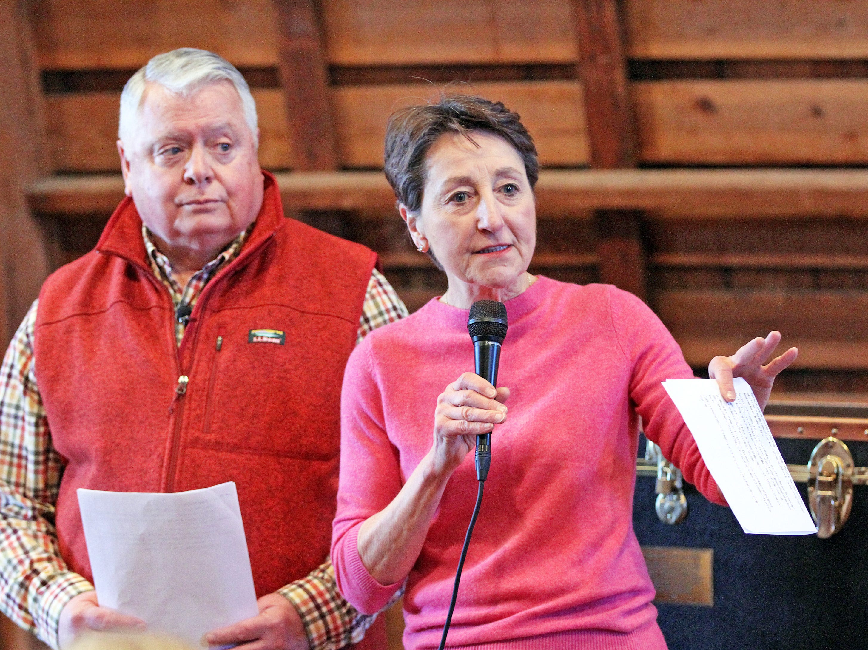 Johnston Mayor Paula Dierenfeld and President of the Johnston Historical Society Mike Knight field questions from the crowd during the opening of the 25-year old time capsule from 1994 as the city of Johnston celebrates its 50th anniversary at the Simpson House and Barn Museum at 6161 Northglenn Drive on Sunday, March 10, 2019, in Johnston. The city was incorporated in 1969 with 2,236 residents and 50 years later, over 21,000 residents call Johnston home.