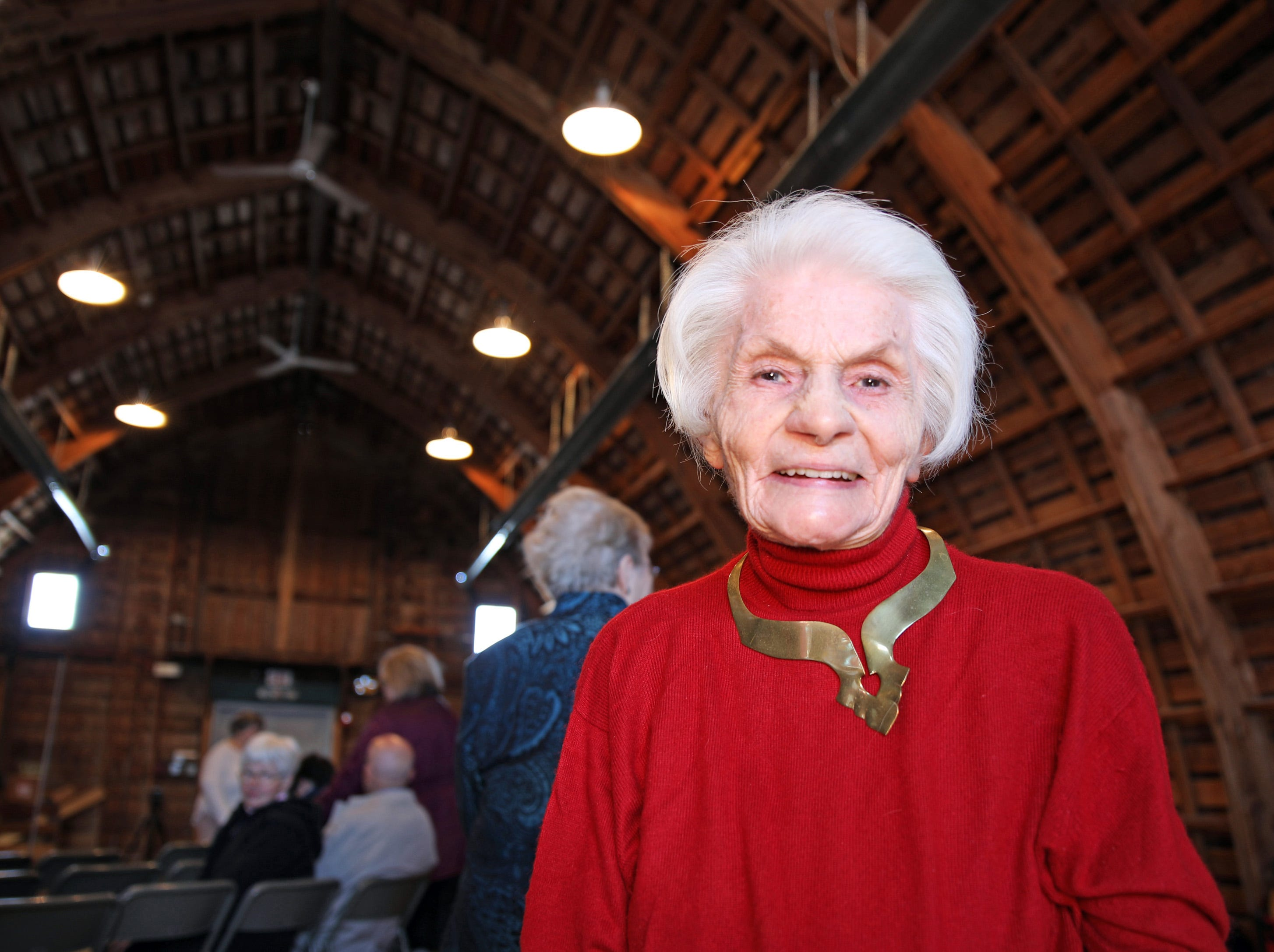 Former Johnston Mayor Mary Ann Roberts, 1982-1985, arrives to the opening of the 25-year old time capsule from 1994 as the city of Johnston celebrates its 50th anniversary at the Simpson House and Barn Museum at 6161 Northglenn Drive on Sunday, March 10, 2019, in Johnston. The city was incorporated in 1969 with 2,236 residents and 50 years later, over 21,000 residents call Johnston home.