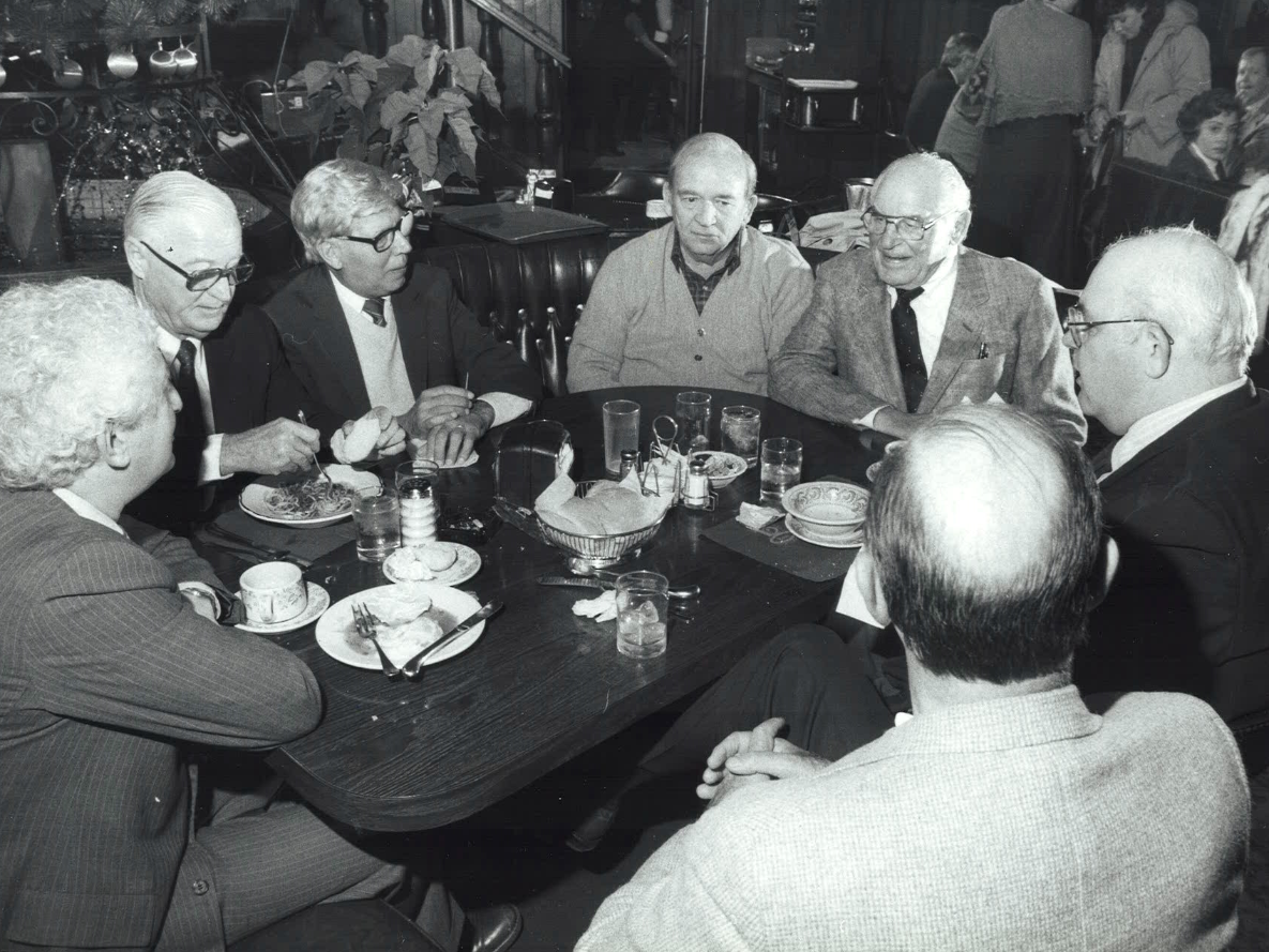 From 1986: Lunch time at Babe's Restaurant in Des Moines with this unidentified group of men.