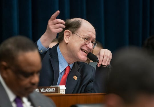 Rep. Brad Sherman, D-Calif., questions Wells Fargo CEO Timothy Sloan during a House Financial Services Committee hearing about revelations the bank had created millions of fake bank accounts to reach their financial goals, on Capitol Hill in Washington, Tuesday, March 12, 2019. (AP Photo/J. Scott Applewhite)