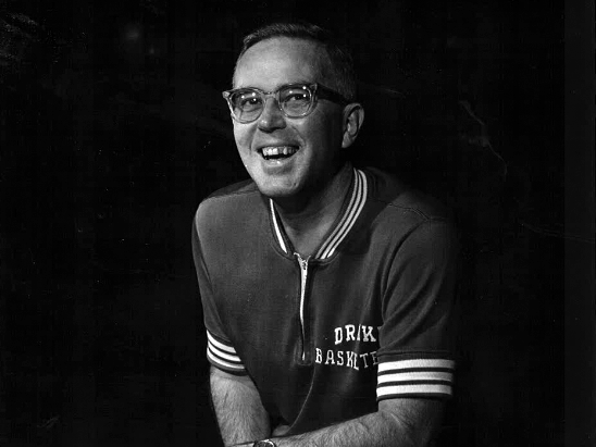 Drake University men's basketball coach Maury John, shown in 1963. John was head coach for the Bulldogs from 1958-1971 and at Iowa State from 1971-1974.  He led Drake to the NCAA Tournament three times, including the 1968-69 season when they advanced to the Final Four.