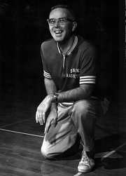 Drake University men's basketball coach Maury John, shown in 1963. John was head coach for the Bulldogs from 1958-1971 and at Iowa State from 1971-1974. He led the Bulldogs to the NCAA Tournament three times, including the 1968-69 season, when they advanced to the Final Four.