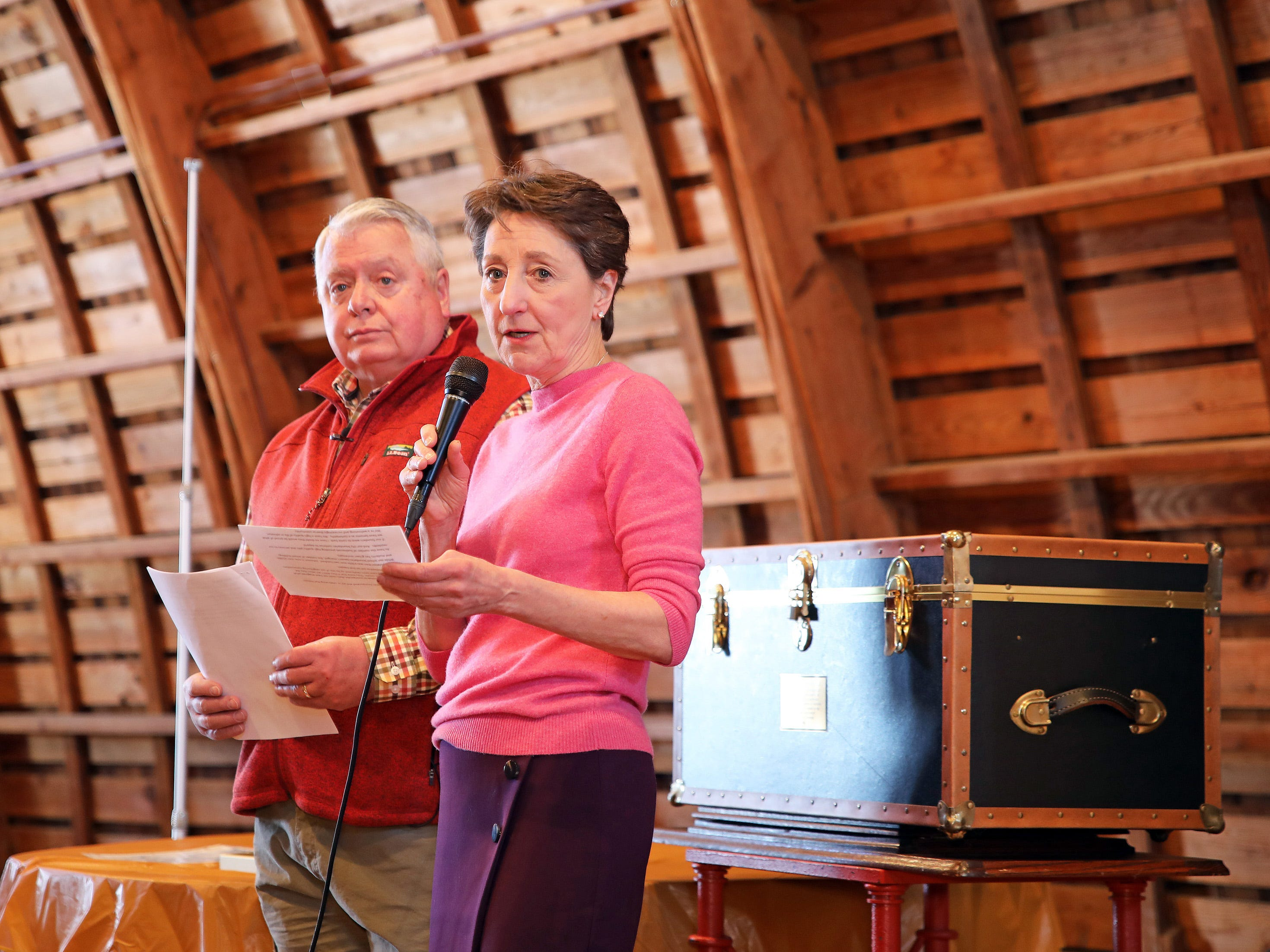 Johnston Mayor Paula Dierenfeld and President of the Johnston Historical Society Mike Knight acknowledge guests during the opening of the 25-year old time capsule from 1994 as the city of Johnston celebrates its 50th anniversary at the Simpson House and Barn Museum at 6161 Northglenn Drive on Sunday, March 10, 2019, in Johnston. The city was incorporated in 1969 with 2,236 residents and 50 years later, over 21,000 residents call Johnston home.