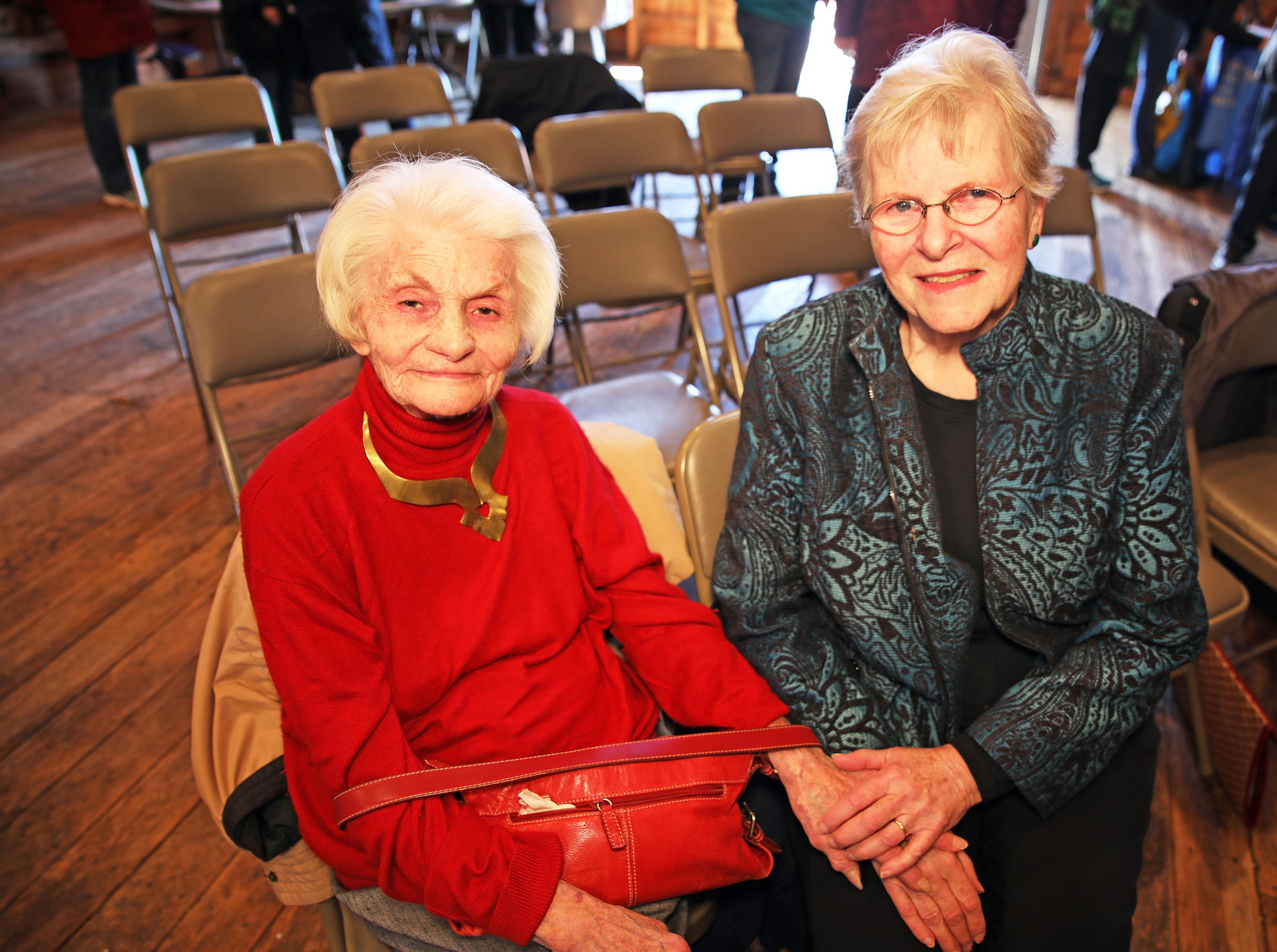 Former Johnston Mayor Mary Ann Roberts, 1982-1985, left, and past President of the Johnston Historical Society Mary Jane Paez visit after the opening of the 25-year old time capsule from 1994 as the city of Johnston celebrates its 50th anniversary at the Simpson House and Barn Museum at 6161 Northglenn Drive on Sunday, March 10, 2019, in Johnston. The city was incorporated in 1969 with 2,236 residents and 50 years later, over 21,000 residents call Johnston home.