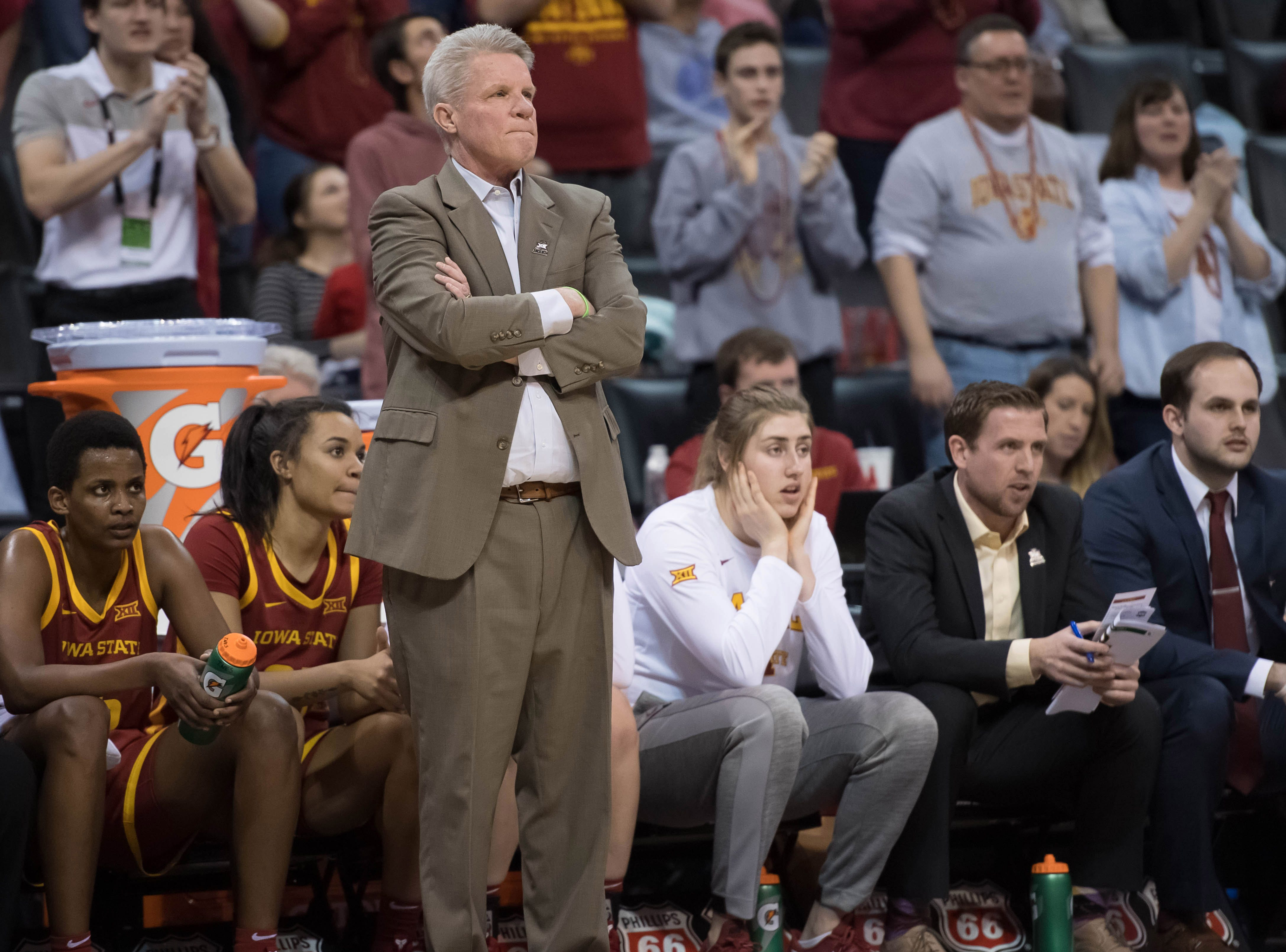 Iowa State Cyclones head coach Bill Fennelly reacts during a game against the Baylor Lady Bears in the women's Big 12 Conference Tournament at Chesapeake Energy Arena.