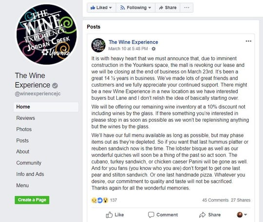 The Wine Experience at Jordan Creek Town Center is closing after 14 years.