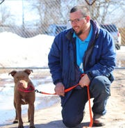 Blue, a pit bull mix, was adopted by a Michigan man on March 12, 2019 from the Humane Society of Midland County. Blue was found in Michigan, and a microchip linked her to a woman in Florida who said she no longer wanted her.
