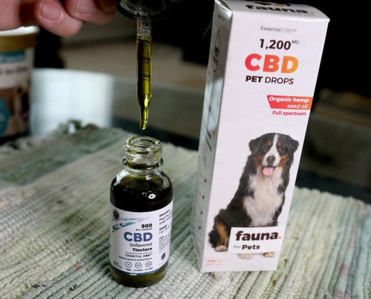 A look at the Essential CBD pet drops that Brad Stottlemyer, 65 of Dearborn Heights gives to Misty his 11-year-old chocolate lab mix who has bone cancer in her right front bone joint. 