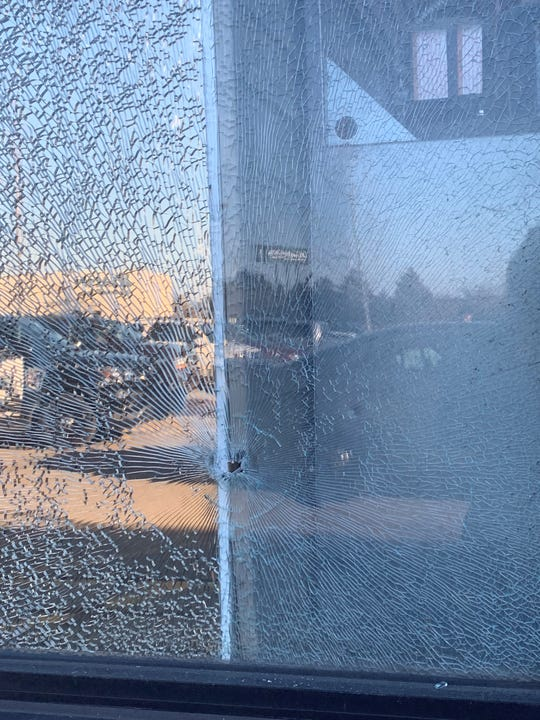 A bullet struck the front window of the Home Depot in Roseville on March 11, 2018. A 22-year-old man was arrested