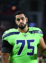 Seahawks guard Oday Aboushi on Nov. 9, 2017 in Glendale, Ariz.