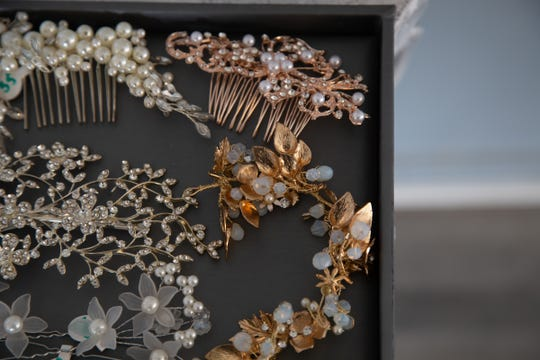 Jewelry and accessories sit on display at LeeAnne's Luxury Bridal Boutique on Detroit's west side on Wednesday, March 6, 2019.