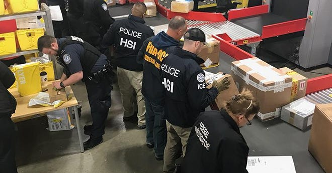 Federal investigators led by U.S. Immigration and Customs Enforcement's Homeland Security Investigations search for counterfeit and illegal items at border areas in Michigan.