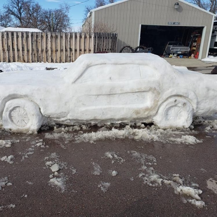 Cops 'ticket' Ford Mustang sculpture made after massive snowfall in Nebraska