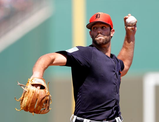 Detroit Tigers starting pitcher Daniel Norris works in the first inning of a spring training baseball game against the Boston Red Sox, Tuesday, March 12, 2019, in Fort Myers, Fla.
