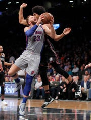 Blake Griffin shoots against Nets center Jarrett Allen during the second quarter Monday.