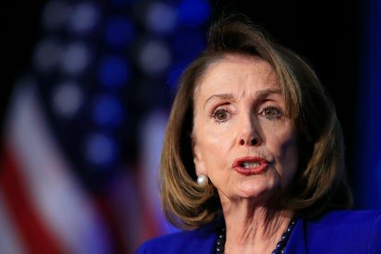 House Speaker Nancy Pelosi of Calif., speaks at an Economic Club of Washington luncheon gathering in Washington, Friday, March 8, 2019.