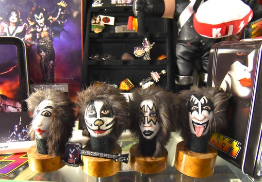 This is one of Terry's most prized possessions: rocks with the band members' faces painted on them that he bought from another Michigan Kiss collector.