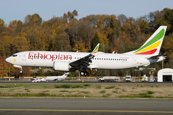 This is the Ethiopian Airlines Boeing 737 - Max 8 plane, that crashed Sunday March 10, 2019, shortly after take-off from Addis Ababa, Ethiopia